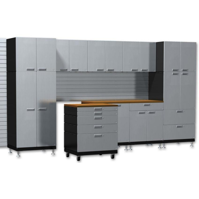 10 Foot Stainless Steel Workstation Cabinets: Stainless Steel & Powder Coated Metal