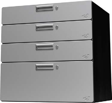 Hercke 30W x 24D x 30H Quadro Storage Four Drawer Set - Stainless Steel or Powder Coat