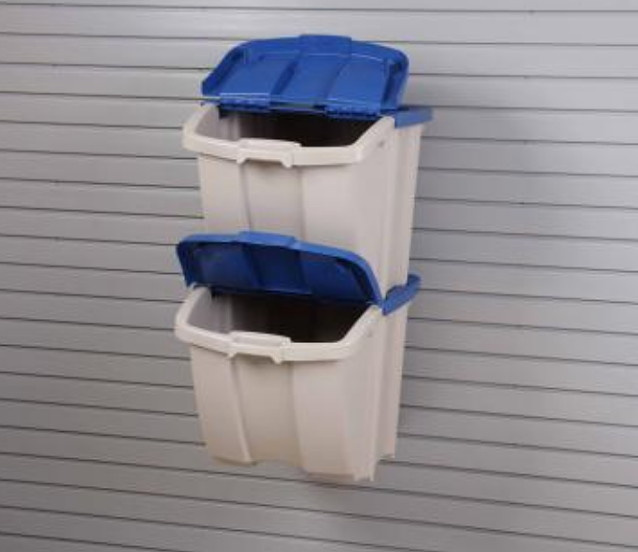 Slatwall Mount Dual Bin Recycling Center With Lids