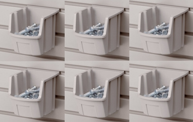 "Slatwall Mount Open Storage Bins - 5"" W X 5 3/8"" D - Pack of Six"